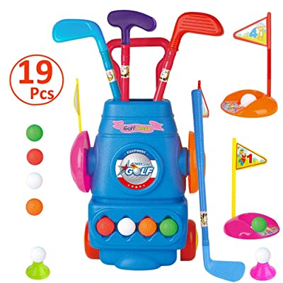 WTOR 19Pcs Kids Golf Club Set Golf Toy Plastic Golf Cart with Wheels Balls Holes Sports Toys Gift for Boys Girls 2 3 4 5 6 Year Old Indoor Outdoor Toys: Toys & Games
