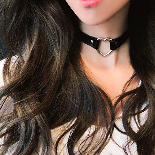 Collar de moda estilo g/ótico vintage Cadena clavicular Love Heart Collar Lumanuby para mujer Collar de cuero artificial mujeres regalos para ni/ñas
