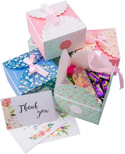 Candy Christmas Birthdays Kraft 20 Pack Parties Gift Treat Boxes with Ribbons and Thank You Stickers for Goodies Hayley Cherie Thick 400gsm Card - 6.5 x 4 x 4 inches Weddings