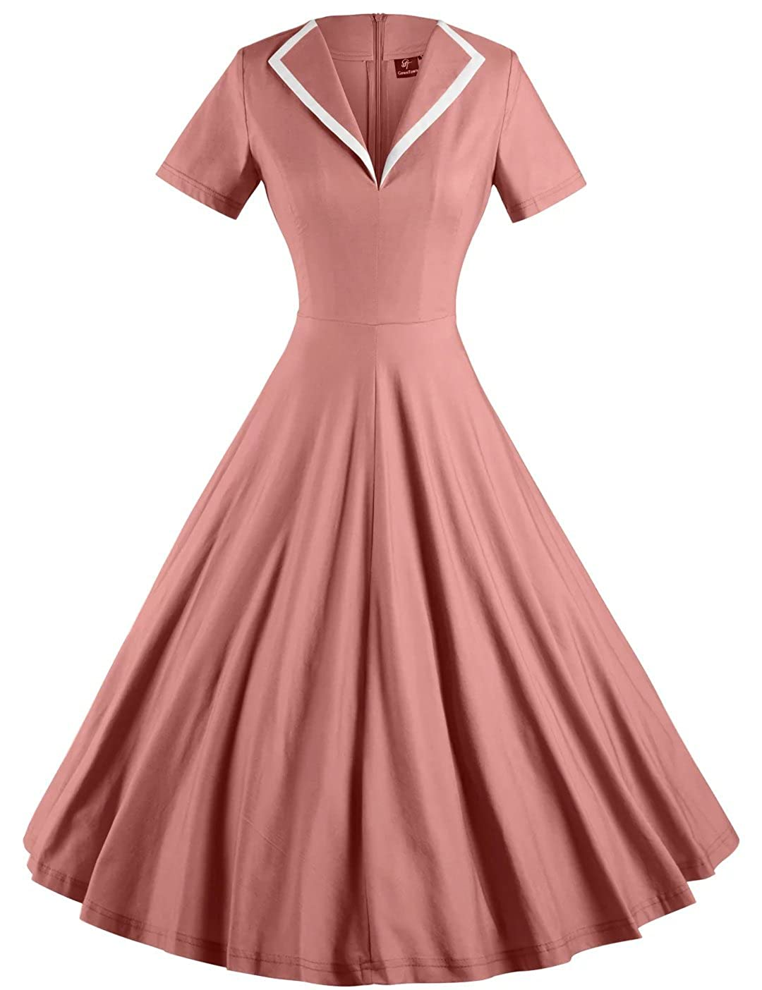 1950s Costumes- Poodle Skirts, Grease, Monroe, Pin Up, I Love Lucy GownTown Womens 1950s Retro Vintage V-Neck Party Swing Dress $35.98 AT vintagedancer.com