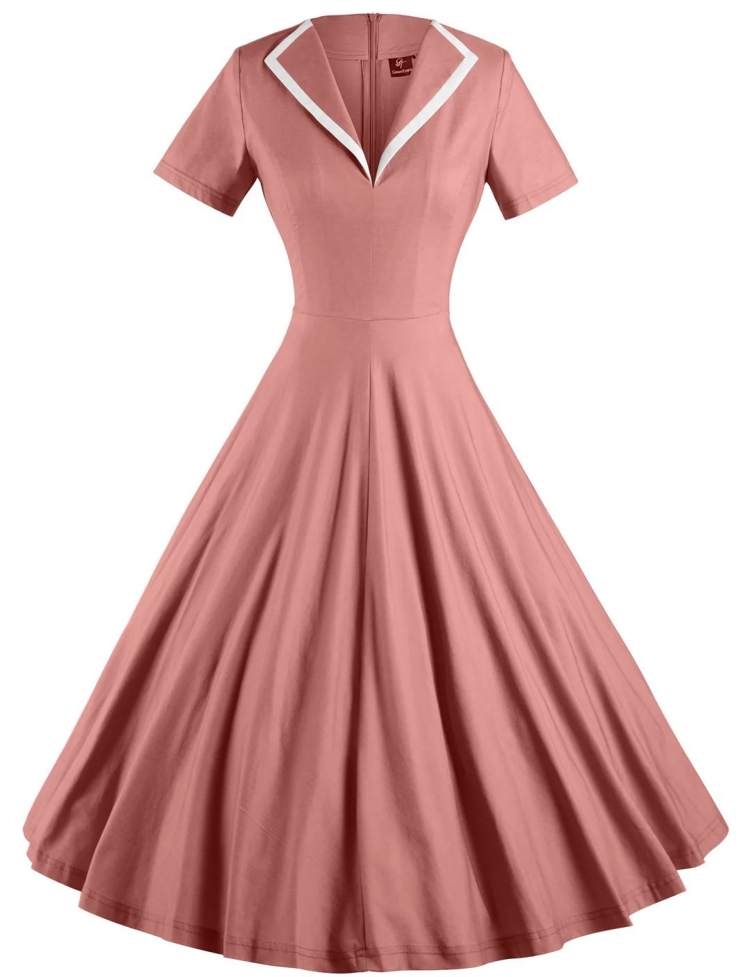 GownTown Women's 1950s Retro Vintage V-Neck Party Swing Dress