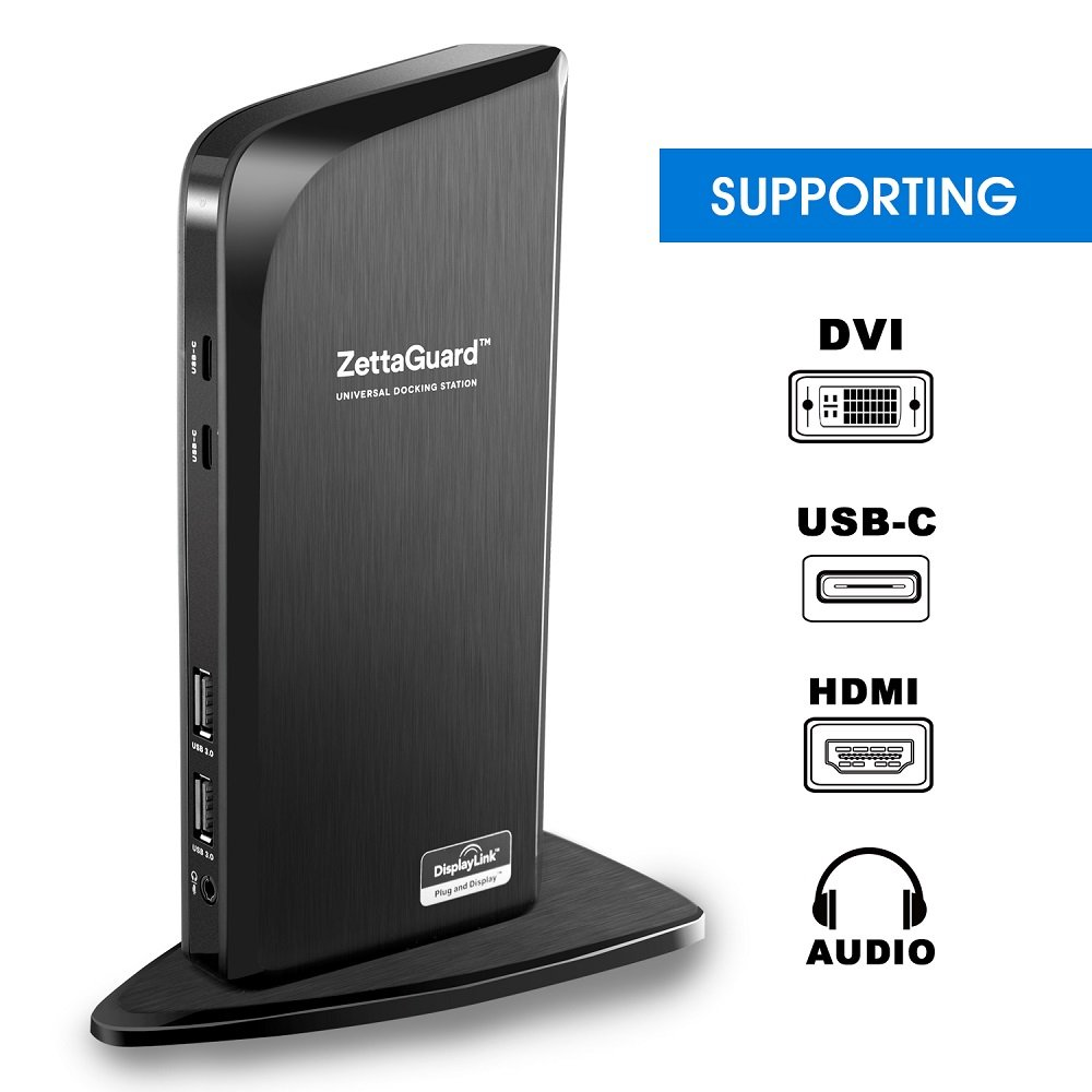 ZettaGuard ZDS-100 Multimedia Ultra Dual Video USB 3.0/2.0 Universal Docking Station (10129) by Zettaguard