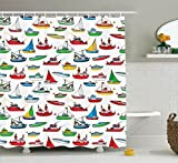 Ambesonne Nautical Decor Shower Curtain Set, Bunch of Colorful Vessel Speedboat Fishing Trawler Motorboat Irregular Water Vehicle Concept, Bathroom Accessories, 84 Inches Extralong, Multi