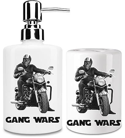 Gang Wars dispensador de jabón líquido y vaso para cepillo de dientes set| añadir un