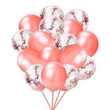 Pink, Pllieay 21 Pieces Rose Gold Confetti Balloons Set Including Rose Gold