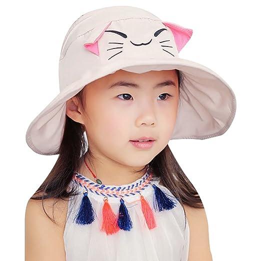 Vbiger Kids Anti-UV Sun Hat Foldable Visor Hat Children Bucket Hat Wide  Brim Cap b4b6f4bc55a