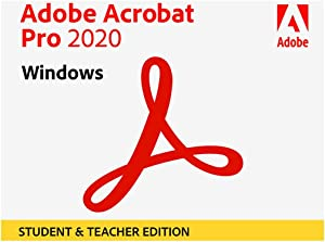 Adobe Acrobat Pro 2020 Student & Teacher Edition for Windows and Mac, DVD