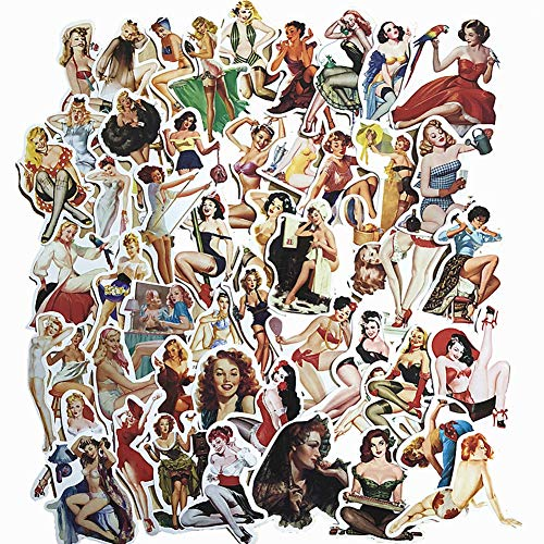 (50-Pcs PVC Decals Retro Pin-up Girls Vinyl Computer Stickers for Cars Motorbikes Skateboard Laptops)