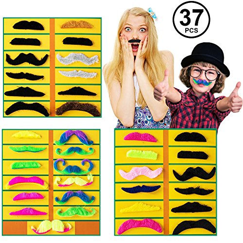 Tigerdoe Fake Mustaches - 37 Pc Set - Neon Mustaches - Mustache Stickers - Mustache Party Supplies