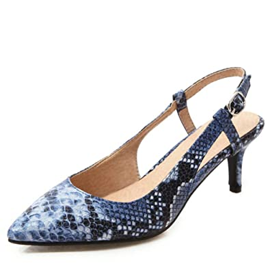 af3132179c8 DecoStain Women s Sexy Snake Print Kitten Heel Pumps Plus Size Slingback  Party Office Dress Shoes Blue