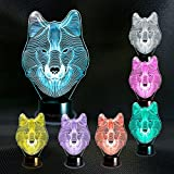 Wolf 3D Lamp – Unique Light for Home – 3D Optical Illusion Flat Night Light - Projector 7 Color Change Decor Desk Lamp for Kids and Adults Visual Led Platform Night Lighting