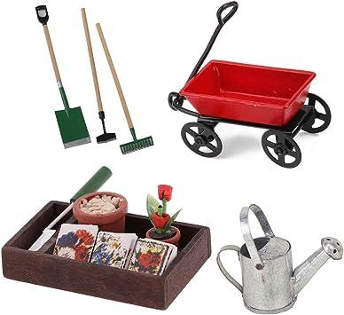 Amazon.es: Kit de Carrito en Miniatura Caja de Jardinería de Madera Mini Regadera con Juegos de Herramientas para Casa de Muñecas Escala 1/12: Juguetes y juegos