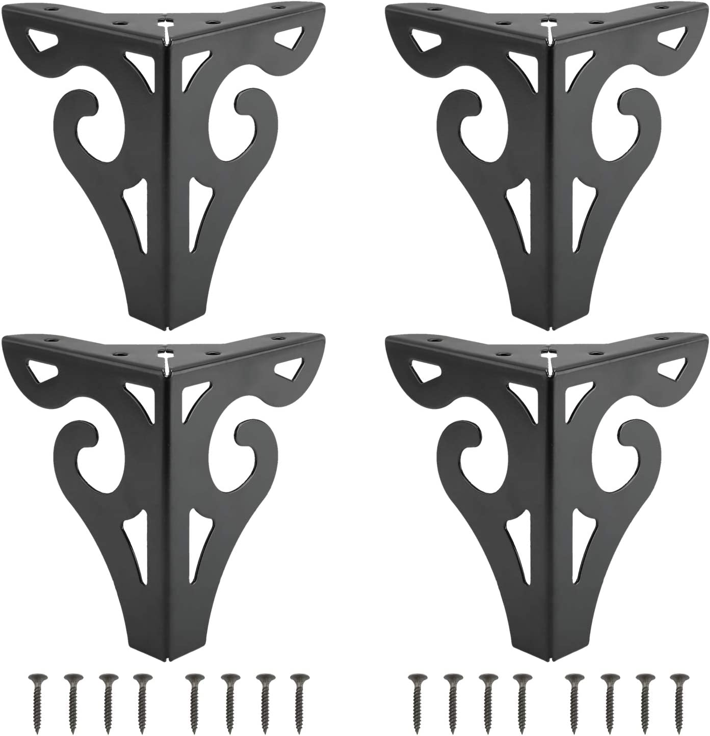 """DasMarine Furniture Legs, 5 inch Height Hollow Out Modern Furniture Sofa Legs Metal Black Finished for Sofa Table Cabinet Cupboard Set of 4 (Height: 5"""", Black)"""