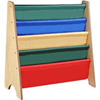 Wood Sling Canvas Bookcase Bookshelf Magazine Book Display Kids Bedroom Storage 62 x 26.5 x 61cm Firmly Steady Smooth Cambered Edges Collapsible Cubes Space Saving Kid Bedroom AU Delivery