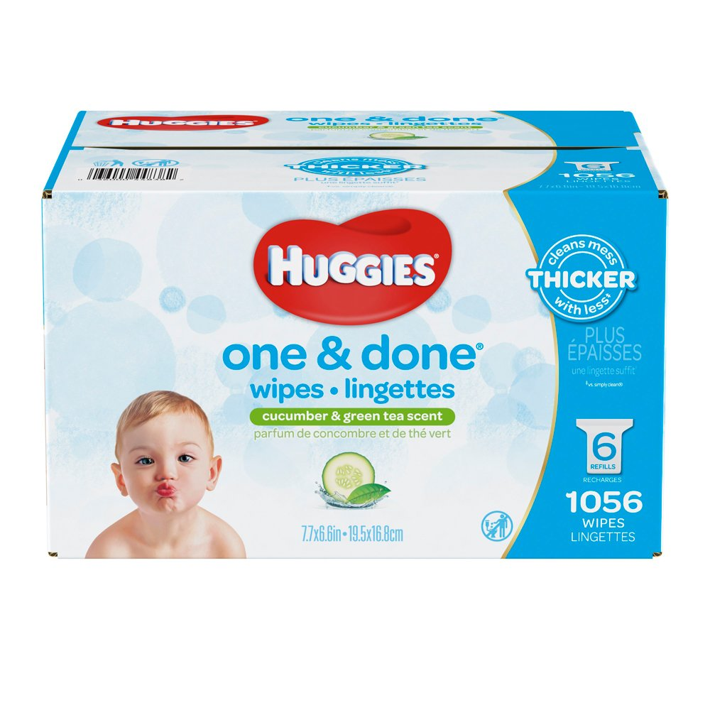 Huggies one & done hypoallergenic scented baby wipes, 6 refill packs, 1056 count Kimberly-Clark