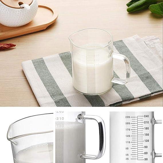 Diuspeed con scala graduata per riscaldare il latte alta resistenza alle alte temperature e al microonde in vetro borosilicato resistente al calore Misurino trasparente da 240 ml