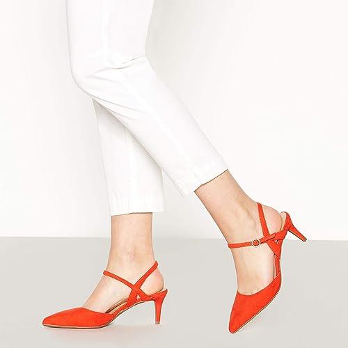 f1b7c4627d Principles Orange Suedette 'Ruby' Low Kitten Heel Wide Fit Pointed Court  Shoes 8: Amazon.co.uk: Shoes & Bags