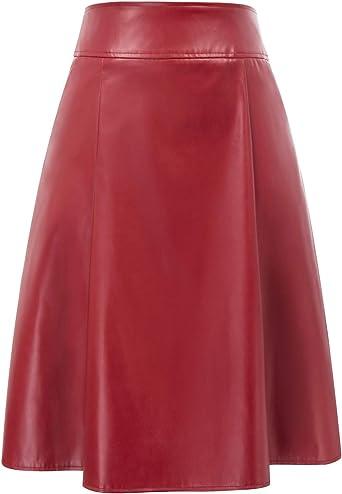 Belle Poque Jupe Femme Mi Longue Pin Up Rockabilly Années 50 Vintage en PU Jupe Plissée Swing A Line avec Deux Poches