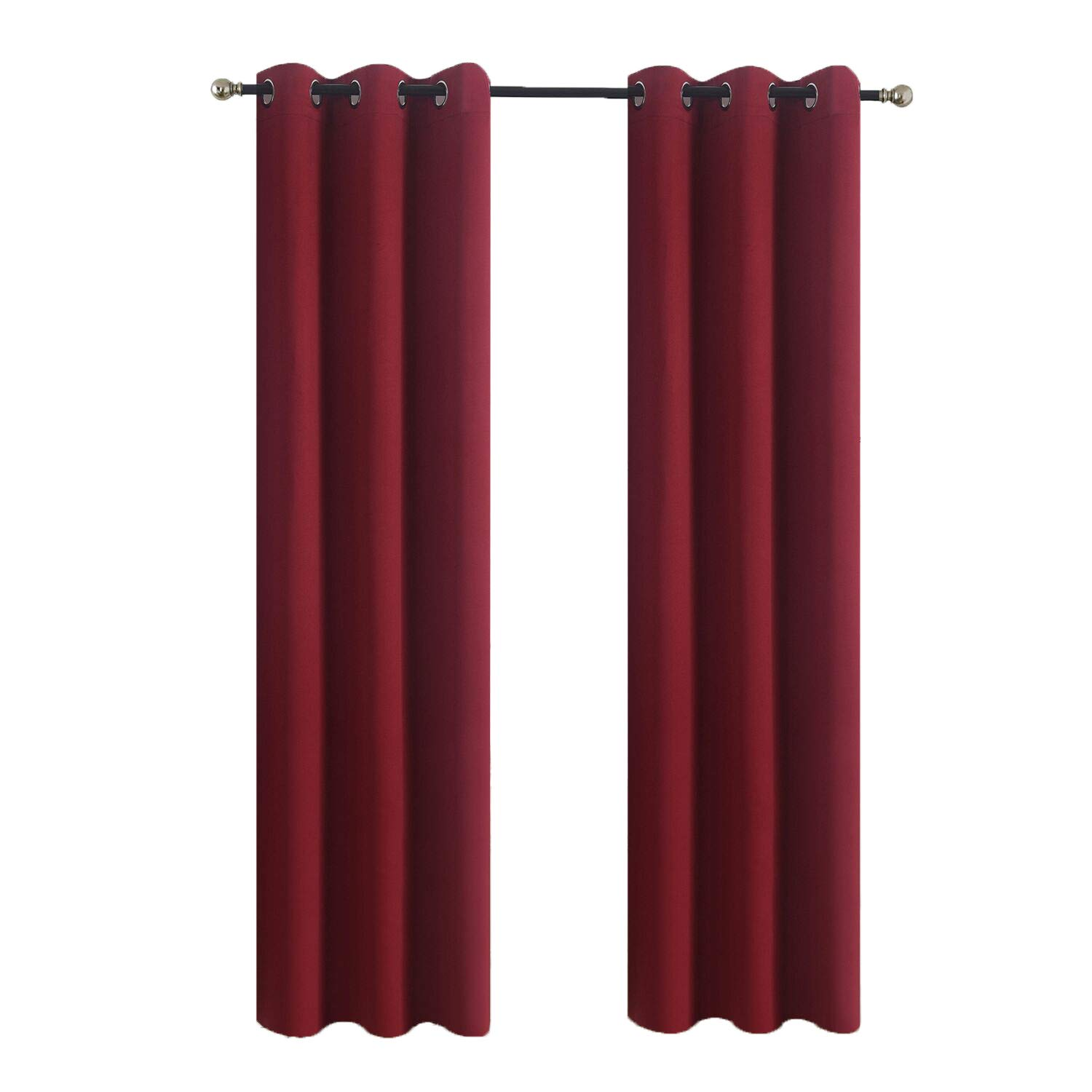 Aquazolax Kitchen Window Blackout Curtains Thermal Insulated Blackout Window Curtain Drapes 42x63 Solid Readymade for Living Room, 1 Pair, Burgundy Red