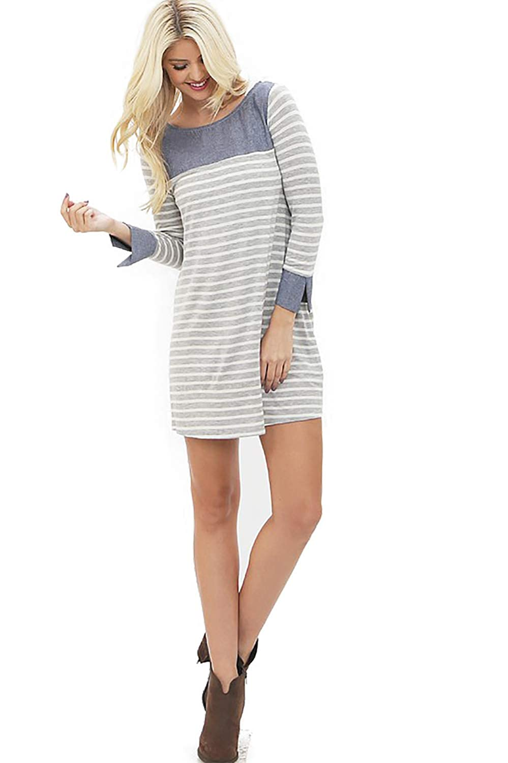 e690b4af Preppy Doll Made in USA Women's Summer Crew Neck 3/4 Sleeve Striped Loose  Tunic Mini Dress with Denim Sleeve Cuff Detail at Amazon Women's Clothing  store: