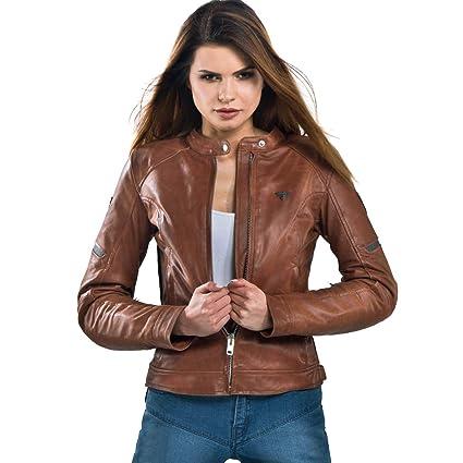 Shima Monaco Chaqueta para moto, mujer, piel, protector de espalda, Vintage, Retro, Verano, Con Protecciones