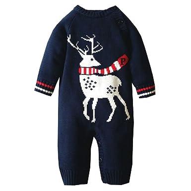 Amazon.com: canvos bebé niños niñas Pelele suéter bebé punto ...