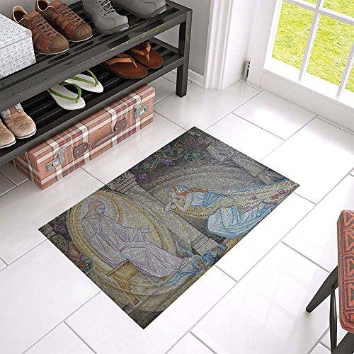 (WBSNDB Mosaic Religious Religion Faith Tile Art Church Unique Debora Custom Bathroom Accessories Non-slip Bath Mat Rug Bath Doormat Floor Rug 23.6 X 15.7)