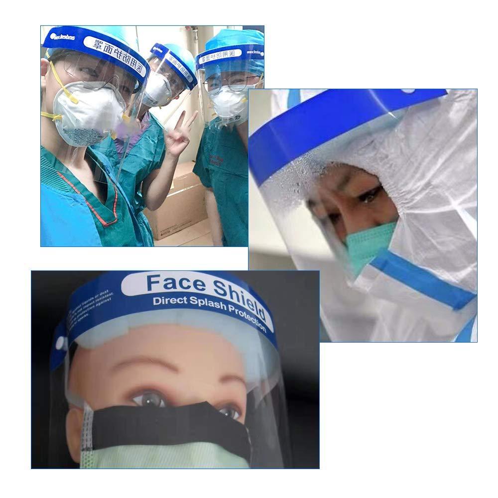 BANLVS 5PCS Protector facial de seguridad Tapa de protecci/ón completa Lente anti-vaho resistente a la visera amplia Lente facial transparente ajustable ligera para hombres Mujeres
