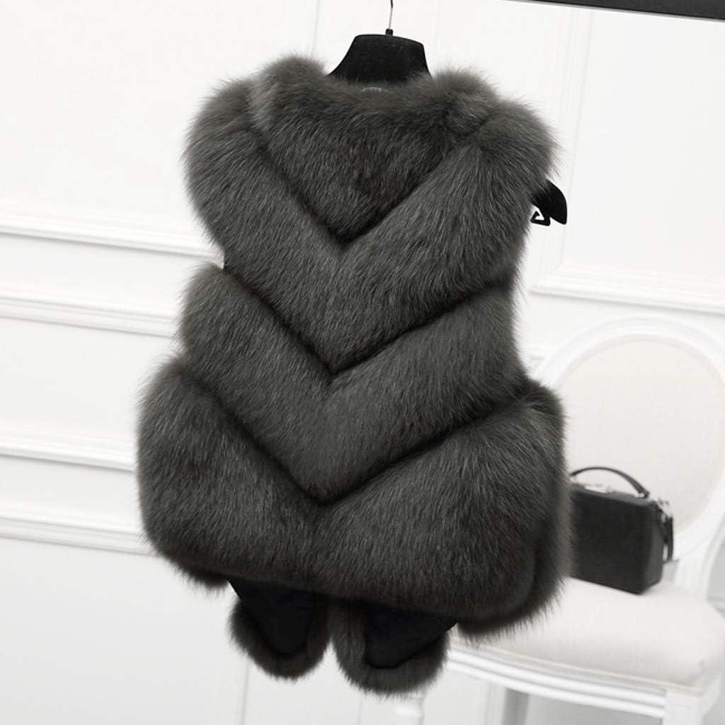 TOTAMALA Women Winter Slim Vest Jacket Gilet Outwear Warm Faux Fox Fur Waistcoat Coat Vest S//2XL