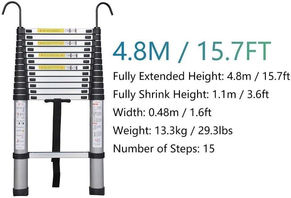 Laden 330 Lbs Multi-Purpose-Erweiterung Leitern for industrielle Haushalt t/äglich oder Notfall YUEDAI Aluminium Teleskopleiter mit Haken und Anti-Rutsch-F/ü/ße Size : 2m//6.6ft