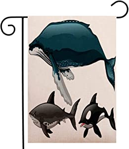 BEIVIVI Custom Double Sided Seasonal Garden Flag Different Type of Whale and Shark Welcome House Flag for Patio Lawn Outdoor Home Decor