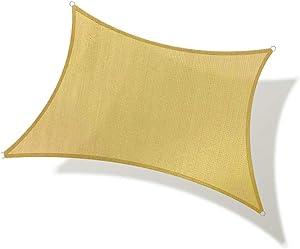 REPUBLICOOL Rectangle Sun Shade Sail UV Block Awning Cover for Patio Garden Outdoor Backyard 10'x13' Sand