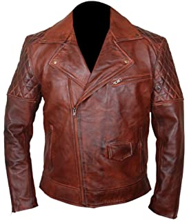 F&H Mens Genuine Sheepskin Waxed Leather Fashion Motorcycle Jacket