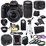 Cheap Canon EOS Rebel T6i DSLR Camera EF-S 18-135mm f/3.5-5.6 is STM Lens 0591C005 + EF 75-300mm Lens + EF 50mm Lens + 32GB SDHC Card + Case + Tripod + Saver Bundle