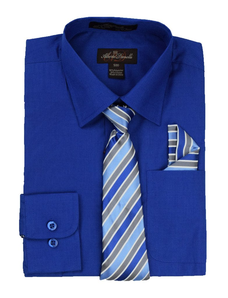 Alberto Danelli's Boys Long Sleeve Dress Shirt with Matching Tie and Handkerchief, 18, Royal