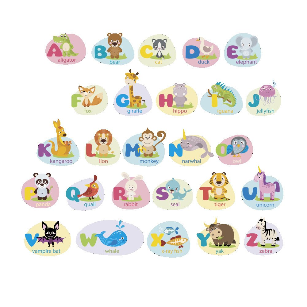 Amazon com polly online alphabet wall decals animals wall stickers alphabet decals for kids nurery bedroom living room playroom home kitchen