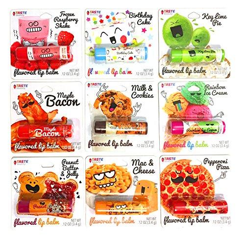 - Taste Beauty 9PC Assorted Tinted Foodie Lip Balm (Frozen Raspberry Shake, Birthday Cake, Key Lime Pie, Maple Bacon, Milk & Cookies, Rainbow Ice Cream, PB&J, Mac & Cheese, Pepperoni Pizza)