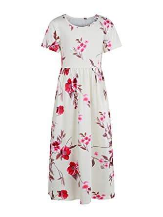 c57b66d88a Amazon.com: Geckatte Girls Floral Maxi Dresses Fit and Flare Short Sleeve  Casual Swing Flowy Long Dress: Clothing