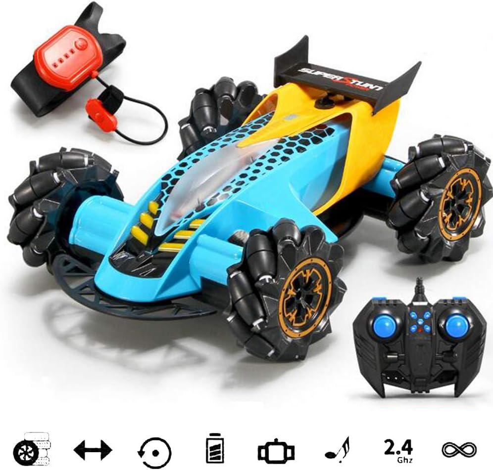 WAQB XL Coche con Sensor de Gestos RC, vehículo Todoterreno de Alta Velocidad en Las Cuatro Ruedas, Deriva del Amortiguador de Sonido y luz, Juguete Antideslizante con Sensor de Gravedad,Azul