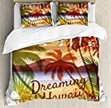 Vintage Hawaii Queen Size Duvet Cover Set by Lunarable, Aloha Dreaming of Hawaii Landscape Image with Mountains and Palm Trees Beach, Decorative 3 Piece Bedding Set with 2 Pillow Shams, Multicolor