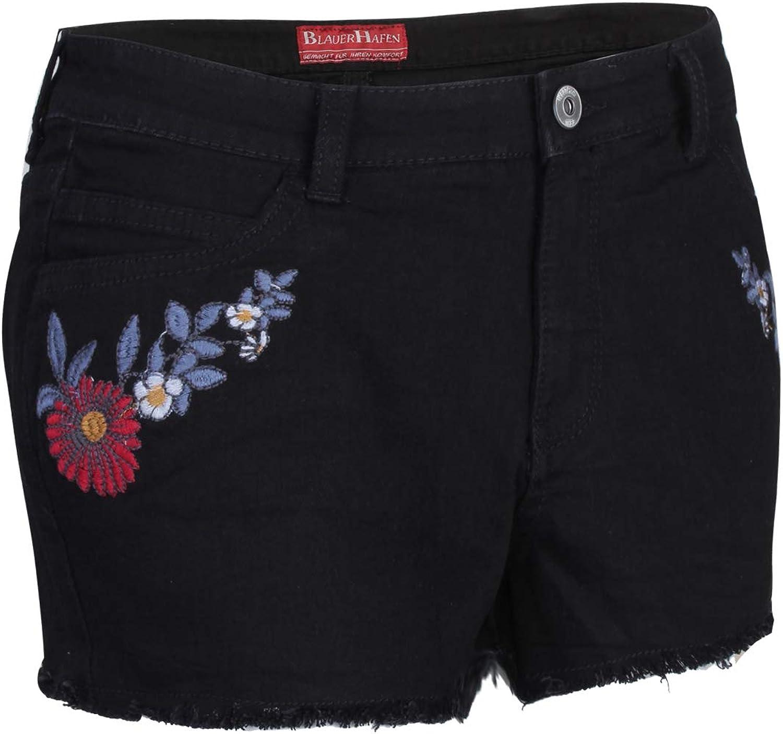 Pantaloni Corti da Donna in Jeans con Ricamo BlauerHafen