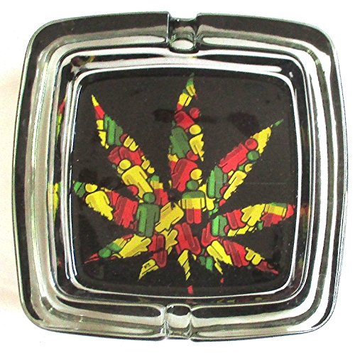 Marijuana Weed Deluxe Glass Ashtray Model 5
