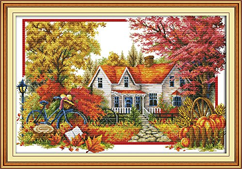 Full Range of Embroidery Starter Kits Stamped Cross Stitch Kits Beginners for DIY Embroidery with 40 Pattern Designs - Autumn House ()