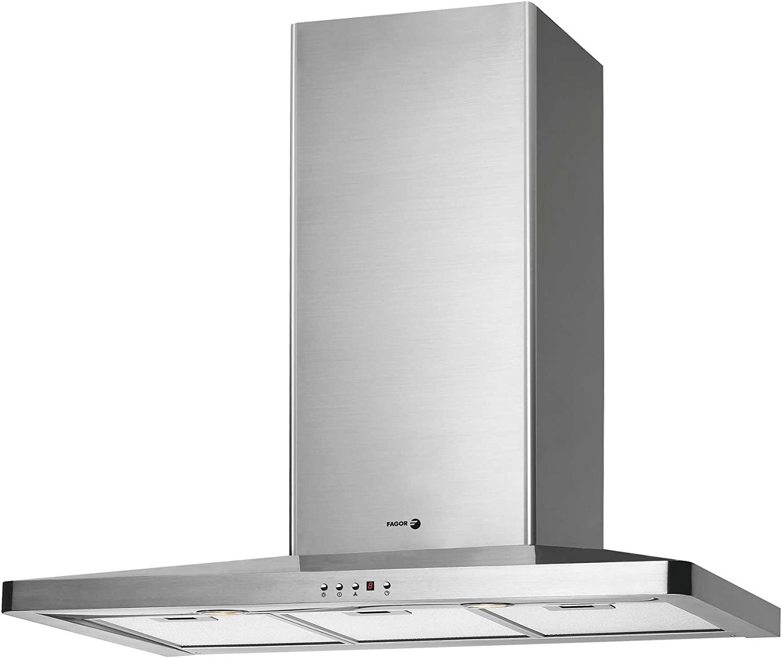 Fagor CFS-90AX - Campana (Recirculación, 800 m³/h, Montado en pared, Halógeno, Acero inoxidable, 2 piezas): Amazon.es: Hogar