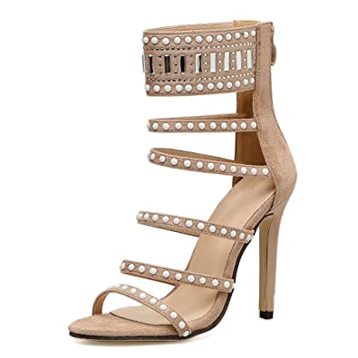 2bda0d0365e4d MAIERNISI JESSI Women s Velvet Crystal Gladiator Cut Out Stiletto Heel  Sandals Apricot 35 - US 5