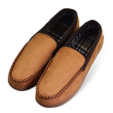 3c4b5b7b7 LA PLAGE Men s Non-Slip Indoor Outdoor Microsuede Moccasin Shoes with  Hardsole US 8