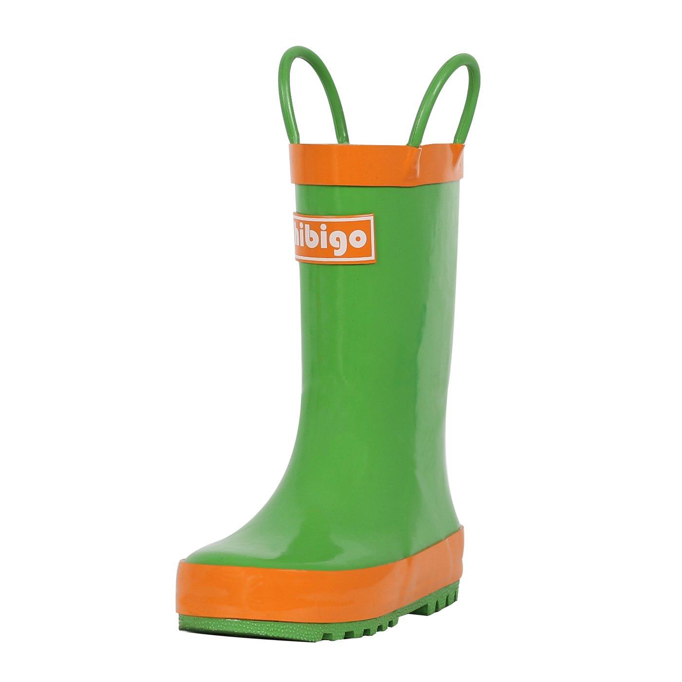 hibigo Children's Natural Rubber Rain Boots with Handles Easy for Little Kids & Toddler Boys Girls, Green Mix Orange