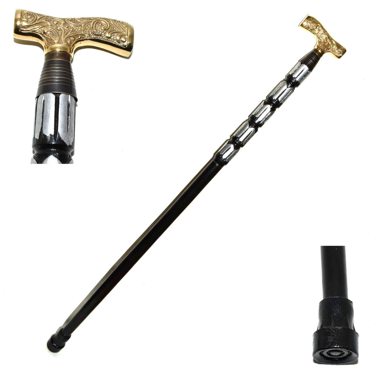 Hello Nauticals Store Victorian Wooden Walking Stick Antique T Shape Brass Handle Cane.