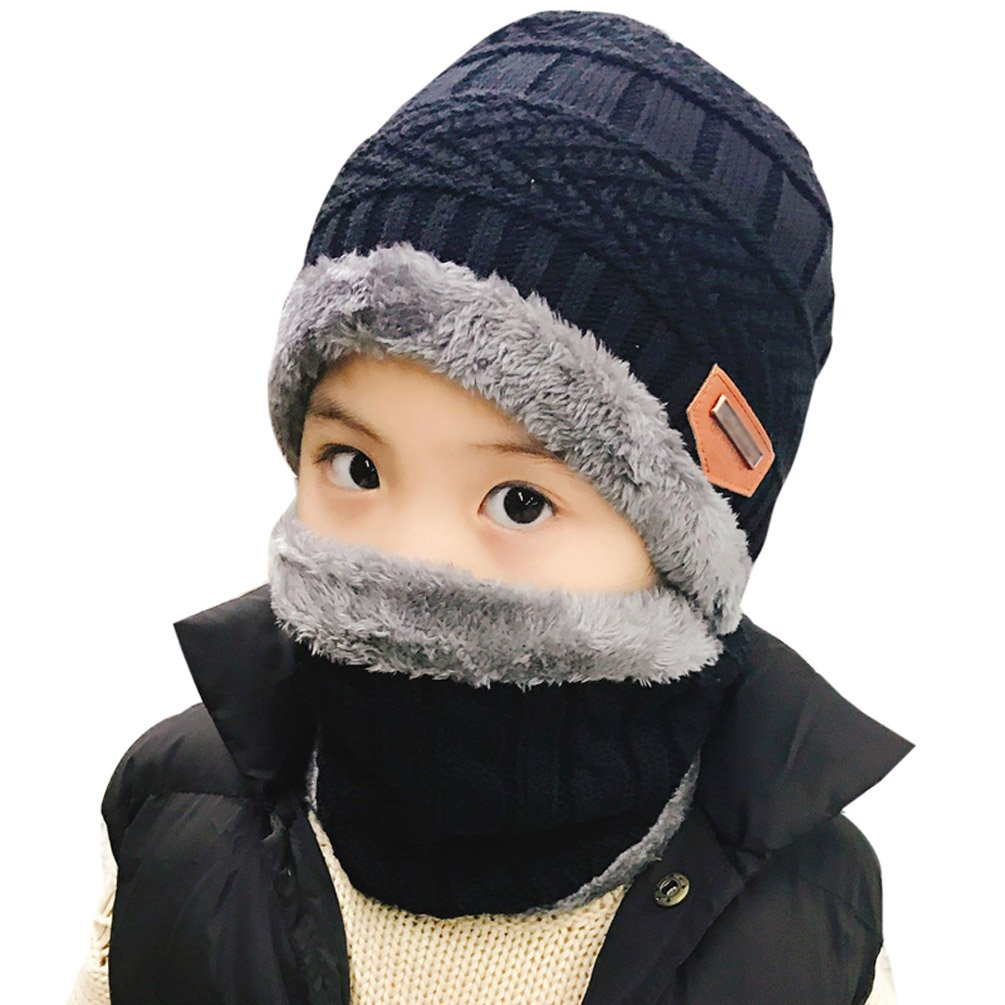Winter Hat Scarf for Boys Girls Kids (5-14 Years) Slouchy Beanie Windproof Warm Knit Snow HINDAWI Infinity Scarf Skull Cap Black