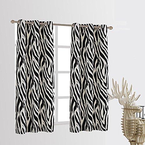Cherry Home Set of 2 Zebra Blackout Energy Saving Noise Reducing Window Curtain Panel (42x63) ()